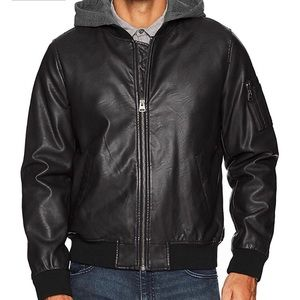 Men's faux leather jacket with hood